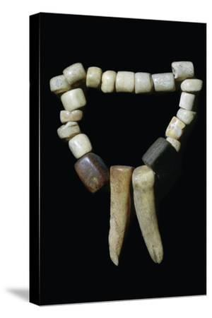 Bone and stone Neolithic necklace. Artist: Unknown-Unknown-Stretched Canvas Print
