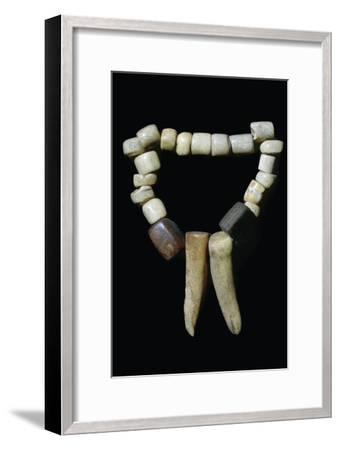 Bone and stone Neolithic necklace. Artist: Unknown-Unknown-Framed Giclee Print