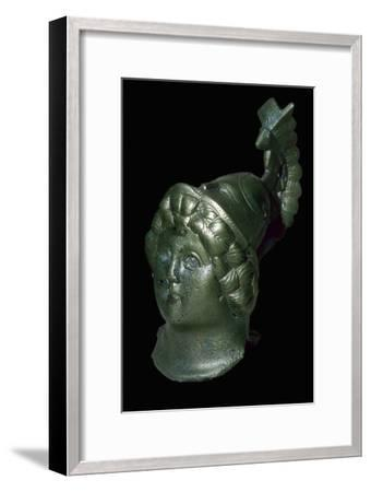 Romano-British copper alloy head of Minerva with Corinthian helmet. Artist: Unknown-Unknown-Framed Giclee Print