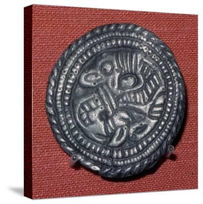 Viking pewter disc-brooch, 10th century. Artist: Unknown-Unknown-Stretched Canvas Print