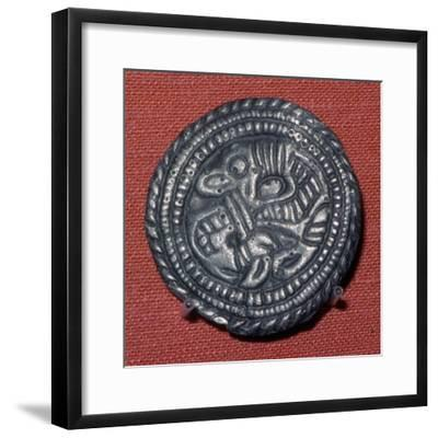 Viking pewter disc-brooch, 10th century. Artist: Unknown-Unknown-Framed Giclee Print