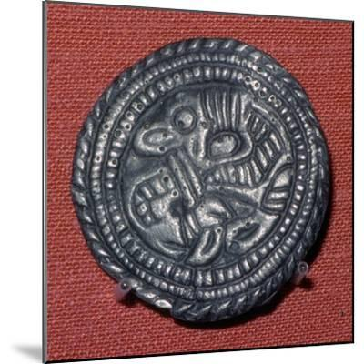 Viking pewter disc-brooch, 10th century. Artist: Unknown-Unknown-Mounted Giclee Print