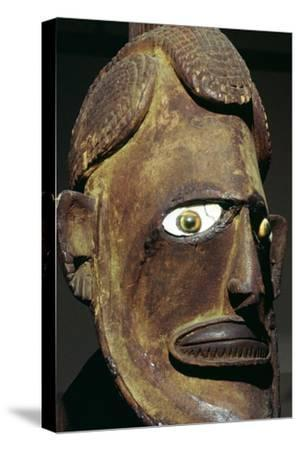 Head of a wooden figure from New Ireland, Melanesian. Artist: Unknown-Unknown-Stretched Canvas Print