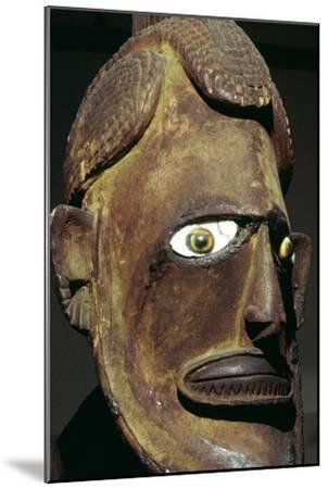 Head of a wooden figure from New Ireland, Melanesian. Artist: Unknown-Unknown-Mounted Giclee Print