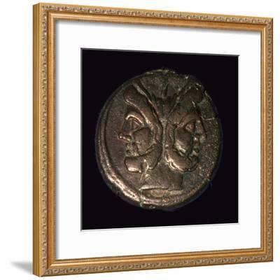 Bronze Roman republican As, 1st century. Artist: Unknown-Unknown-Framed Giclee Print