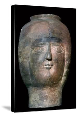 Romano-British pot in the form of a head. Artist: Unknown-Unknown-Stretched Canvas Print