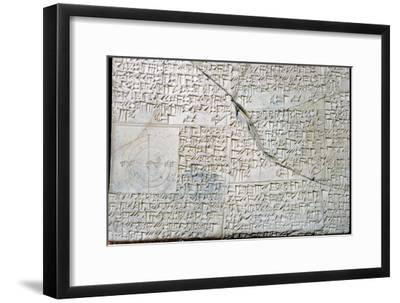 Babylonian clay tablet with Geometrical Problems. Artist: Unknown-Unknown-Framed Giclee Print