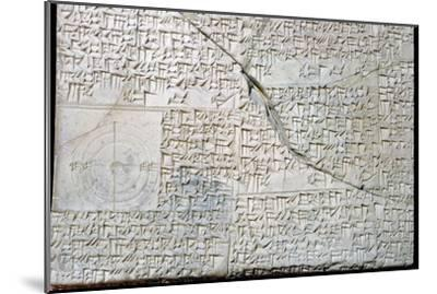 Babylonian clay tablet with Geometrical Problems. Artist: Unknown-Unknown-Mounted Giclee Print