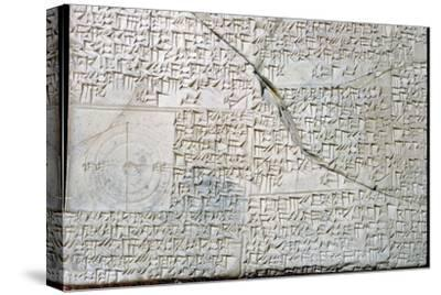 Babylonian clay tablet with Geometrical Problems. Artist: Unknown-Unknown-Stretched Canvas Print