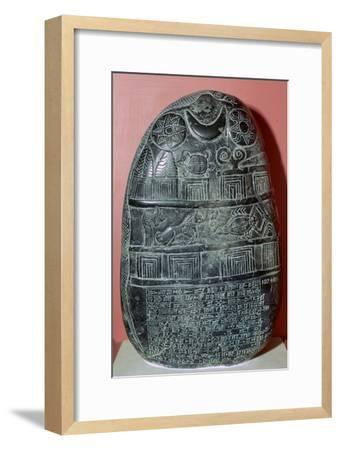 Babylonian boundary-stone recording a gift of land. Artist: Unknown-Unknown-Framed Giclee Print