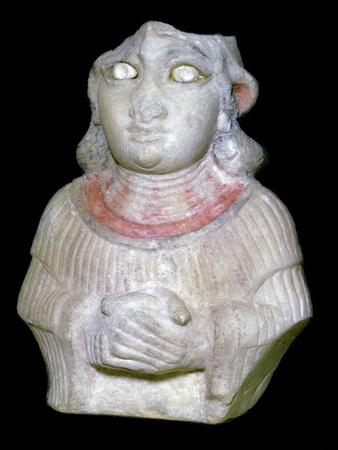 Babylonian white marble figure of a woman, 30th century BC Artist: Unknown-Unknown-Framed Giclee Print