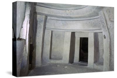 Interior of the Hypogeum of Hal Saflieni on Malta. Artist: Unknown-Unknown-Stretched Canvas Print