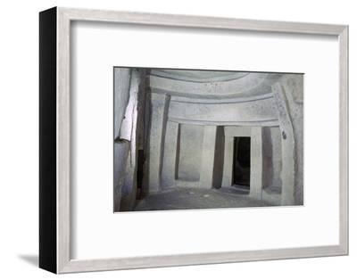 Interior of the Hypogeum of Hal Saflieni on Malta. Artist: Unknown-Unknown-Framed Photographic Print