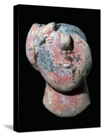 Copper age pottery head. Artist: Unknown-Unknown-Stretched Canvas Print