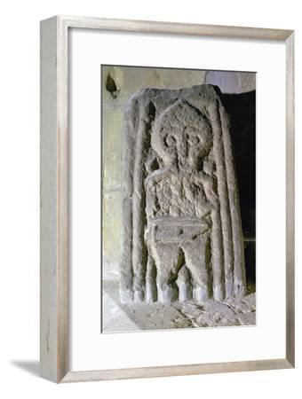 Fragment of an Anglo-Scandinavian cross-shaft showing a warrior, c.10th century. Artist: Unknown-Unknown-Framed Giclee Print