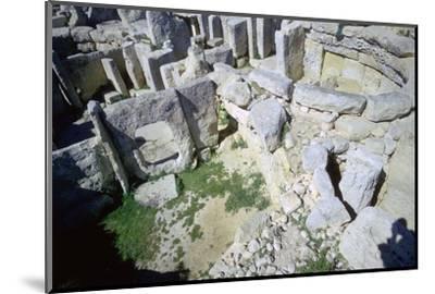 Interior of the Hagar Qim temple on Malta. Artist: Unknown-Unknown-Mounted Photographic Print