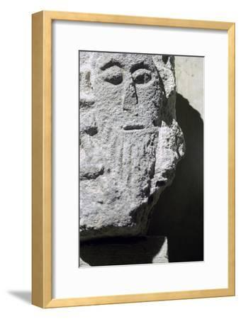 Detail of a stone head in Penmon Priory. Artist: Unknown-Unknown-Framed Giclee Print