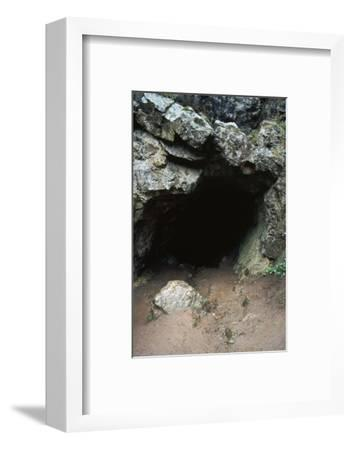 Aveline's hole, a paleolithic cave dwelling, 12000 BC. Artist: Unknown-Unknown-Framed Photographic Print