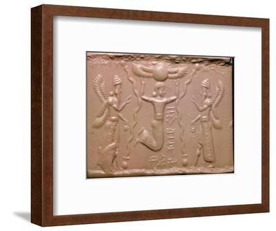 Neo-Assyrian cylinder-seal impression. Artist: Unknown-Unknown-Framed Giclee Print