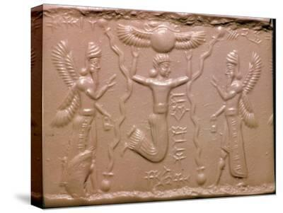 Neo-Assyrian cylinder-seal impression. Artist: Unknown-Unknown-Stretched Canvas Print