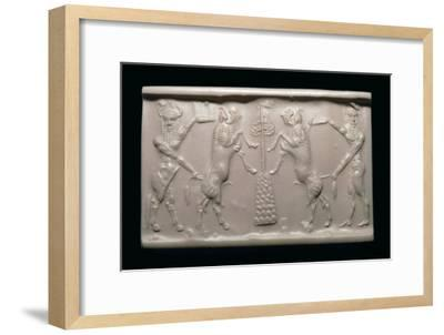 Akkadian cylinder-seal impression of a bull-man and hero. Artist: Unknown-Unknown-Framed Giclee Print