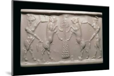 Akkadian cylinder-seal impression of a bull-man and hero. Artist: Unknown-Unknown-Mounted Giclee Print