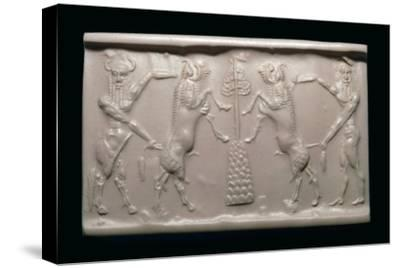 Akkadian cylinder-seal impression of a bull-man and hero. Artist: Unknown-Unknown-Stretched Canvas Print