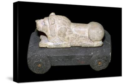 Persian lion mounted on a wheeled carriage. Artist: Unknown-Unknown-Stretched Canvas Print