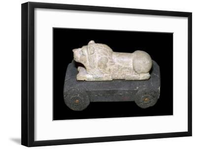 Persian lion mounted on a wheeled carriage. Artist: Unknown-Unknown-Framed Giclee Print