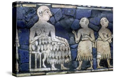 Detail of the Sumerian ruler from the Standard of Ur, about 2600-2400 BC.. Artist: Unknown-Unknown-Stretched Canvas Print