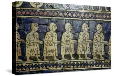 Detail of Sumerian soldiers from the Royal Standard of Ur, about 2600-2400 BC. Artist: Unknown-Unknown-Stretched Canvas Print