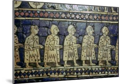 Detail of Sumerian soldiers from the Royal Standard of Ur, about 2600-2400 BC. Artist: Unknown-Unknown-Mounted Giclee Print