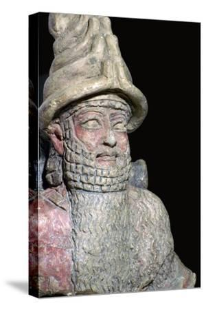 Terracotta statue of a great god from Ur. Artist: Unknown-Unknown-Stretched Canvas Print