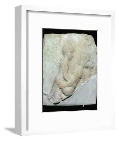 Babylonian terracotta plaque showing ritual fornication. Artist: Unknown-Unknown-Framed Giclee Print