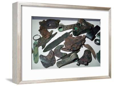 Hoard of Babylonian agricultural tools. Artist: Unknown-Unknown-Framed Giclee Print