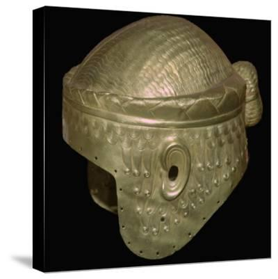 Babylonian helmet of Prince Meskalamdur. Artist: Unknown-Unknown-Stretched Canvas Print