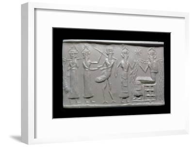 Akkadian cylinder-seal impression. Artist: Unknown-Unknown-Framed Giclee Print