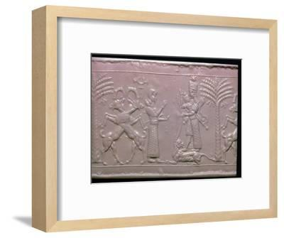 Seal showing the goddess Ishtar, Neo-Assyrian, c720-c700 BC. Artist: Unknown-Unknown-Framed Giclee Print