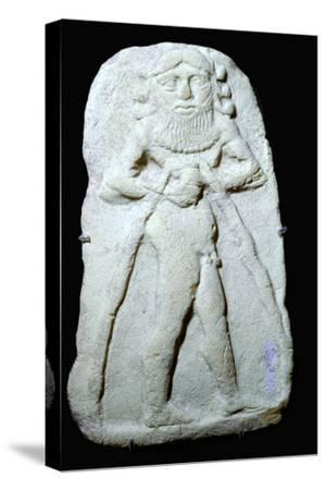 Babylonian terracotta plaque of Gilgamesh. Artist: Unknown-Unknown-Stretched Canvas Print