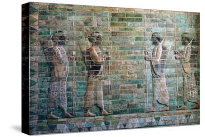 Persian relief of archers of the Persian Royal Guard. Artist: Unknown-Unknown-Stretched Canvas Print