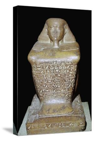 Egyptian statuette of Senenmut. Artist: Unknown-Unknown-Stretched Canvas Print
