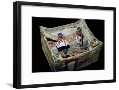 Egyptian model of workers in a grain store. Artist: Unknown-Unknown-Framed Giclee Print