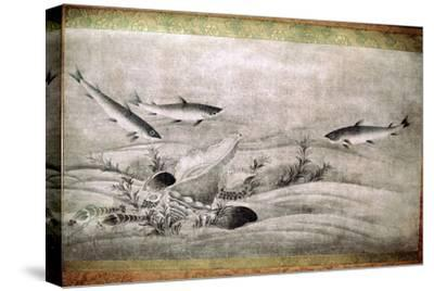 Japanese painting of fish. Artist: Unknown-Unknown-Stretched Canvas Print