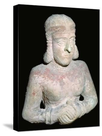 Terracotta statue of a woman, Old Babylonian (?), 2000BC-1750BC. Artist: Unknown-Unknown-Stretched Canvas Print