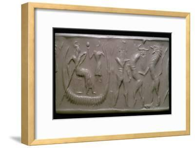 Akkadian cylinder-seal impression showing the flood-epic. Artist: Unknown-Unknown-Framed Giclee Print