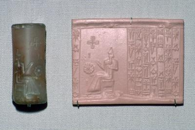 Chalcedony cylinder-seal in the first Kassite style. Artist: Unknown-Unknown-Framed Giclee Print