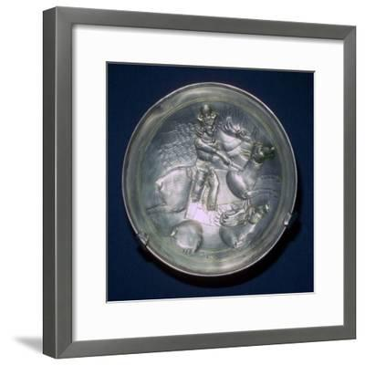 A Sassanid silver dish showing King Shapur II, 4th century. Artist: Unknown-Unknown-Framed Giclee Print
