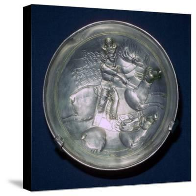 A Sassanid silver dish showing King Shapur II, 4th century. Artist: Unknown-Unknown-Stretched Canvas Print
