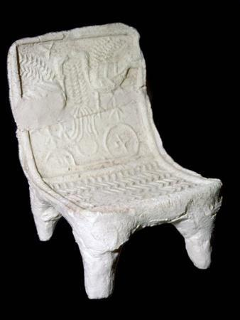 Model terracotta chair from Ur with relief design of two birds. Artist: Unknown-Unknown-Framed Giclee Print