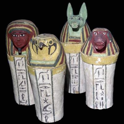 Egyptian set of four canopic jars. Artist: Unknown-Unknown-Framed Giclee Print